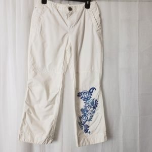 Tommy Hilfiger White Ankle Pants Blue Embroidered